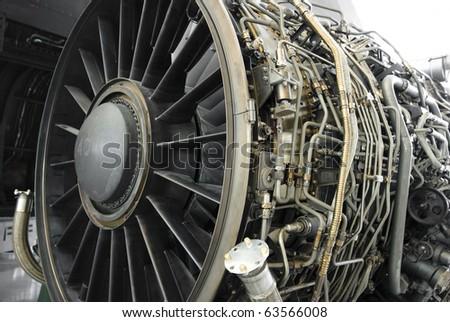 Turbofan jet engine under inspection - stock photo