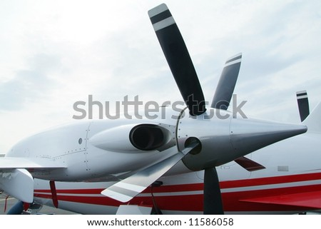 Turboprop engine of Italian propeller business aircraft with pushing propellers.