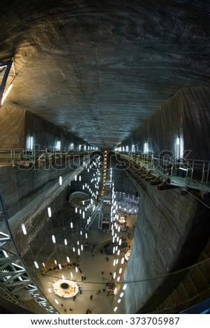 TURDA, ROMANIA - January 11, 2016: Opened In 1992 Salina Turda is a salt mine located in Durgau-Valea Sarata area of Turda, second largest city in Cluj County, Romania.