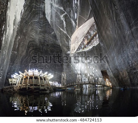 TURDA, ROMANIA - SEPTEMBER 15, 2016. Underground salt mine in Turda ,popular attraction for many tourists,Transylvania, Romania.