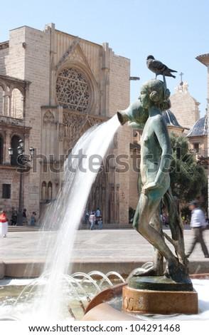 Turia Fountain in the Plaza de la Virgen Valencia, Spain. - stock photo