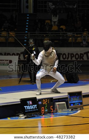 TURIN, FEB 6: Women Foil World Cup, VEZZALI (Italy) on ward during final match vs NAM Hyun Hee (Korea) on  February 6, 2010 in Turin, Italy.