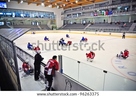"TURIN - FEBRUARY 25: The ice rink of qualification's match between Italy and Czech Republic. Ice Sledge Hockey tournament ""Città di Torino"" on February 25, 2012 Turin, Italy."