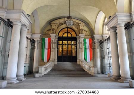 TURIN, ITALY - APRIL 18: Palazzo Carignano, on April 18, 2015 in Turin, Italy - stock photo