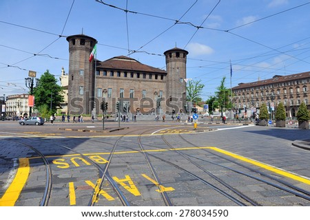 TURIN, ITALY - APRIL 18: Palazzo Madama, on April 18, 2015 in Turin, Italy - stock photo