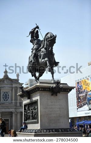 TURIN, ITALY - APRIL 18: Piazza Cavallo, on April 18, 2015 in Turin, Italy  - stock photo