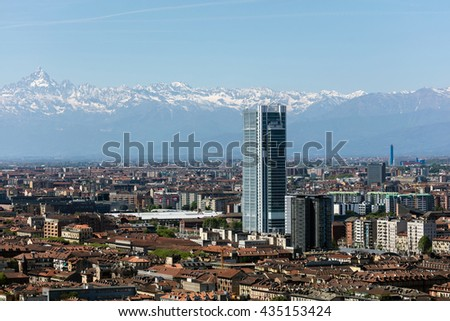 TURIN, ITALY - APRIL 25 2016: Torre Intesa Sanpaolo in Turin, Italy is a skyscraper as well as the headquarters for the banking group Intesa Sanpaolo. The building is the second tallest in the city.