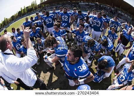 TURIN, ITALY - APRIL 12, 2015: TURIN, ITALY - APRIL 12, 2015: America football national team of Italy after match vs Spain U19 american football match, in the Nebiolo Stadium in Turin. - stock photo