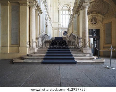 TURIN, ITALY - CIRCA APRIL 2016: Grand stairway at Palazzo Madama Royal palace in Piazza Castello square