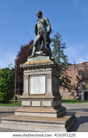 TURIN, ITALY - CIRCA APRIL 2016: Statue of Pietro Micca in front of La Cittadella fortifications - stock photo