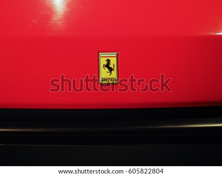 TURIN, ITALY - CIRCA JANUARY 2017: Ferrari logo on vintage car at Museo Nazionale dell Automobile (meaning National Automobile Museum car museum)