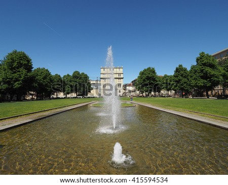 TURIN, ITALY - CIRCA MAY 2016: Giardino Aiuola Balbo public park and fountain - stock photo