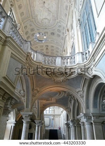 TURIN, ITALY - CIRCA MAY 2015: Palazzo Madama stairway and arches - stock photo