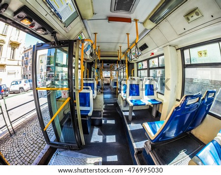 TURIN, ITALY - CIRCA SEPTEMBER, 2015: Interior of a public transport bus seen with fisheye lens (HDR)