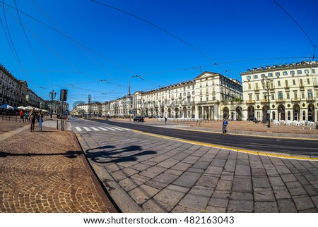 TURIN, ITALY - CIRCA SEPTEMBER, 2015: Piazza Vittorio Emanuele II is the largest square in central Turin seen with fisheye lens (HDR)