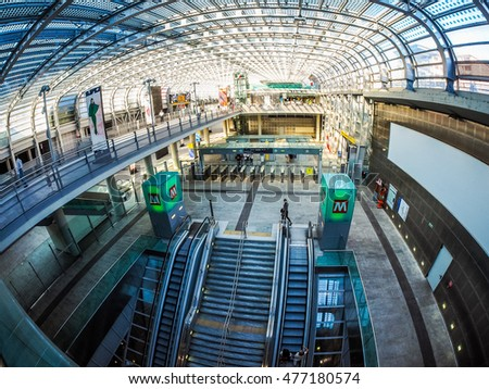 TURIN, ITALY - CIRCA SEPTEMBER, 2015: Travellers in Torino Porta Susa railway station which is the main central station seen with fisheye lens (HDR)