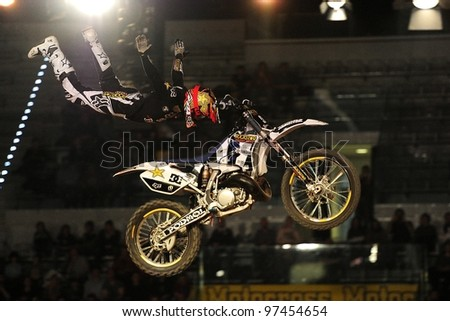 TURIN, ITALY - FEB 03: Libor Podmol (CZE) performs trick during the 2012 FIM Mx Freestyle World Championship on February 03, 2012 in Turin, Italy.
