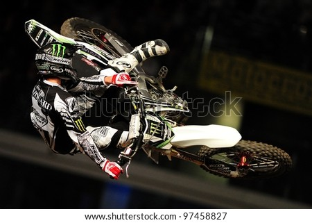 TURIN, ITALY - FEB 03: Remi Bizoaurd (FRA) performs trick during the 2012 FIM Mx Freestyle World Championship on February 03, 2012 in Turin, Italy.