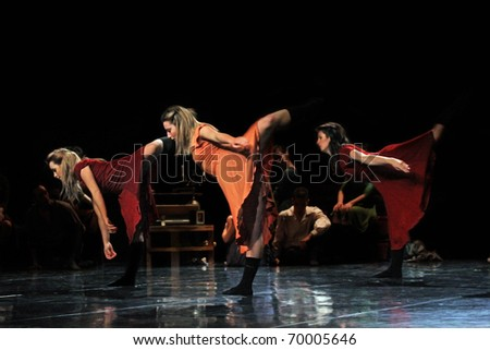 "TURIN, ITALY - JANUARY 25: dancers perform ""The diary of Anna Frank"", on January, 25, 2011 in ""Lavanderia a Vapore theater"", in  Turin, Italy. The dancers belongs to Ballet Company of Salvino Aiosa"
