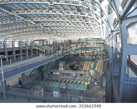 TURIN, ITALY - JANUARY 23, 2015: Passengers in the new Torino Porta Susa main railway and subway station