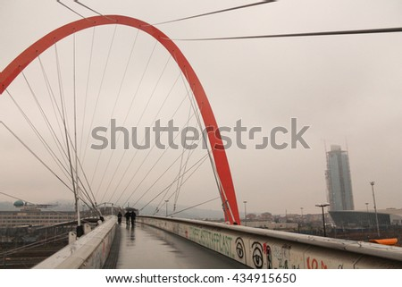 TURIN, ITALY - JANUARY 21, 2015: Pedestrian bridge over the railway at Lingotto