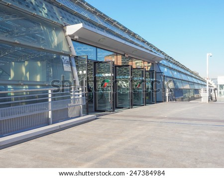 TURIN, ITALY - JANUARY 23, 2015: The new Torino Porta Susa station is the main railway and subway station in town - stock photo