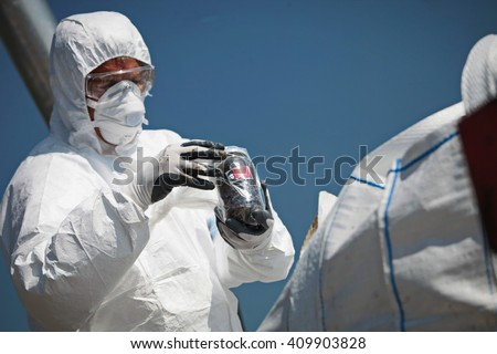 Turin, Italy - July 2013: asbestos disposed of in the landfill of industrial waste - stock photo