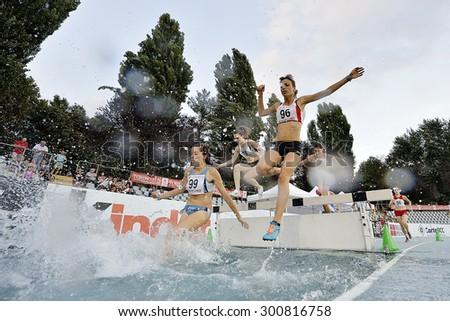 TURIN, ITALY - JULY 28: Competitors of 3000m Steeplechase Women Round of the Turin 2015 Italian Athletics Championships at the Primo Nebiolo Stadium on July 28, 2015 in Turin, Italy - stock photo