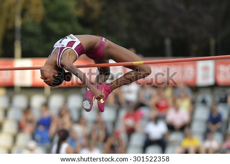 TURIN, ITALY - JULY 25: Furlani Erika perform high jump during Turin 2015 Italian Athletics Championships at the Primo Nebiolo Stadium on July 25, 2015 in Turin, Italy.