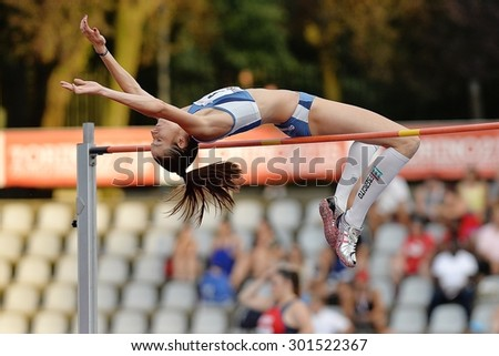TURIN, ITALY - JULY 25: Lamera Raffaella perform high jump during Turin 2015 Italian Athletics Championships at the Primo Nebiolo Stadium on July 25, 2015 in Turin, Italy.