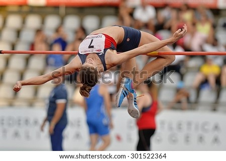 TURIN, ITALY - JULY 25: Mannucci Maura perform high jump during Turin 2015 Italian Athletics Championships at the Primo Nebiolo Stadium on July 25, 2015 in Turin, Italy. - stock photo