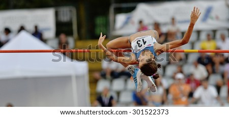 TURIN, ITALY - JULY 25: PAU Anna perform high jump during Turin 2015 Italian Athletics Championships at the Primo Nebiolo Stadium on July 25, 2015 in Turin, Italy.