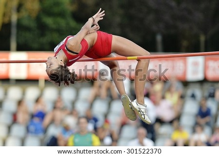 TURIN, ITALY - JULY 25: Sesia Debora perform high jump during Turin 2015 Italian Athletics Championships at the Primo Nebiolo Stadium on July 25, 2015 in Turin, Italy. - stock photo