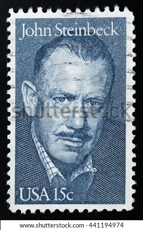 TURIN, ITALY - JUNE 19, 2016: A stamp printed in USA showing the portrait of John Ernst Steinbeck, circa 1979