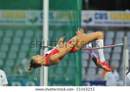 TURIN, ITALY - JUNE 12: Beatrice Lundmark of Suisse perform high jump during the 2010 Memorial Primo Nebiolo track and field athletics international meeting, on June 12, 2010 in Turin, Italy. - stock photo