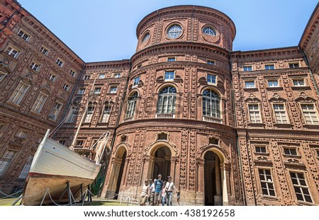 TURIN, ITALY - JUNE 28, 2015. Courtyard of Palazzo Carignano, historical building in Baroque architecture style in the center of Turin, Italy - stock photo