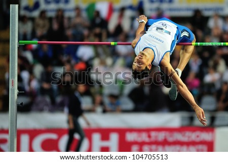 TURIN, ITALY - JUNE 08: Filippo Campioli ITA performs high jump during the International Track & Field meeting Memorial Nebiolo 2012 on June 08, 2012 in Turin, Italy.