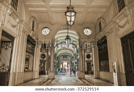 TURIN,ITALY - JUNE 29, 2015. Galleria San Federico - San Federico Gallery, commercial building in the historic center of Turin with commercial stores, offices and a historic cinema.