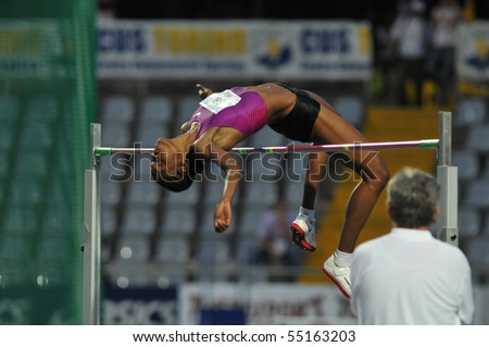 TURIN, ITALY - JUNE 12: Howard Lowe Chaunte of USA performs high jump during the 2010 Memorial Primo Nebiolo track and field athletics international meeting, on June 12, 2010 in Turin, Italy. - stock photo