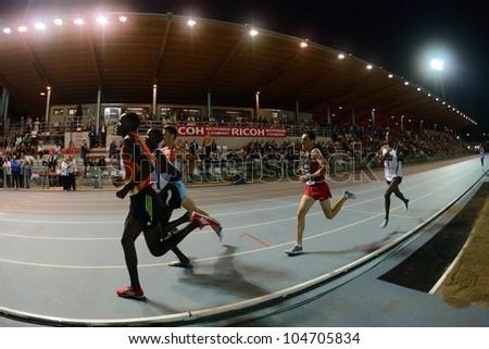 TURIN, ITALY - JUNE 08: Many athlete run 5000m at Nebiolo Stadium during the International Track & Field meeting Memorial Nebiolo 2012 on June 08, 2012 in Turin, Italy. - stock photo