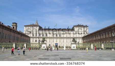 TURIN,ITALY - JUNE 26, 2015.  Palazzo Reale - The Royal Palace of Turin , historic palace in the city of Turin. - stock photo