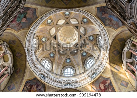 TURIN, ITALY - JUNE 3, 2016: Royal Church of San Lorenzo interior in Turin, Italy. The present church was designed and built by Guarino Guarini during 1668-1687.