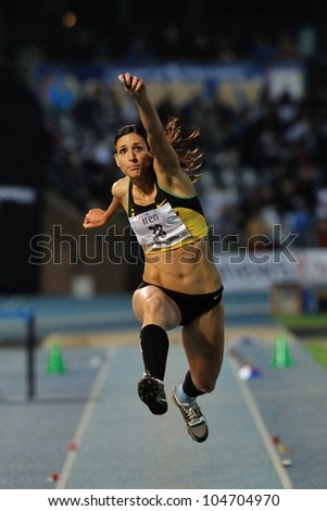 TURIN, ITALY - JUNE 08: Simona La Mantia ITA performs triple jump during the International Track & Field meeting Memorial Nebiolo 2012 on June 08, 2012 in Turin, Italy. - stock photo