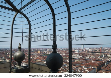 TURIN, ITALY - JUNE 26, 2015. Skyline view of Turin from Mole Antonelliana , monumental landmark building in Turin. - stock photo