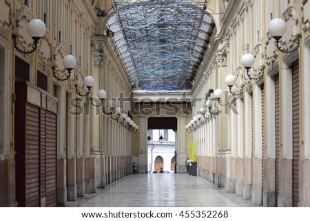 TURIN, ITALY - JUNE 5, 2016: The Galleria Umberto I was built on the site of the Hospital of the Mauritian Order that closed in 1890.The glass-covered walkways was designed by Lorenzo Rivetti.