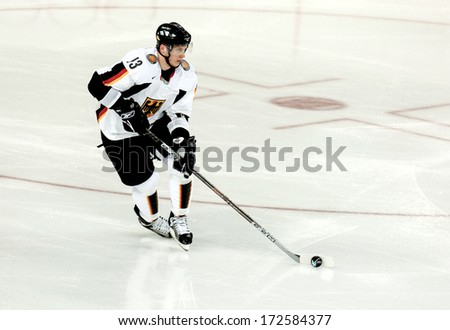 TURIN ITALY - MARCH 28: Ice Hockey German player during the Winter Olympic Games in Turin March 28, 2006.