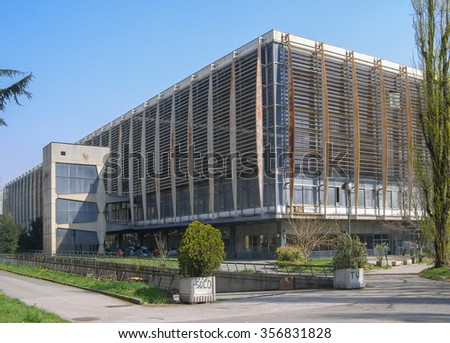TURIN, ITALY - MARCH 29, 2008: Palazzo del Lavoro meaning Palace of Work designed by Nervi in 1961 is a masterpiece of modern architecture now an abandoned ruin
