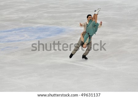 TURIN, ITALY - MARCH 26: Professional Italian skaters Federica FAIELLA & Massimo SCALI perform free dance during the 2010 World Figure Skating Championship on March 26, 2010 in Turin, Italy.