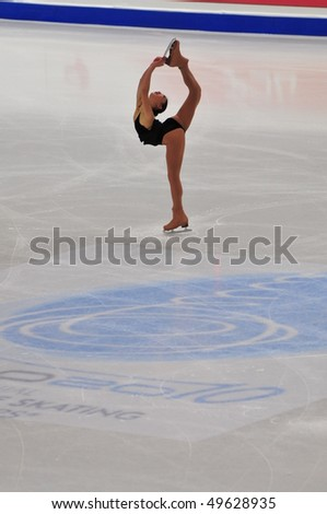 TURIN, ITALY - MARCH 26: Professional USA skater Mirai NAGASU performs short program during the 2010 World Figure Skating Championship on March 26, 2010 in Turin, Italy.