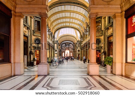 TURIN, ITALY - MAY 3, 2016: Interior of a shop gallery of Turin, Piedmont, Italy. Turin is a business and cultural centre of Italy